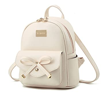 Image Unavailable. Image not available for. Color  Cute Mini Leather  Backpack Fashion Small Daypacks Purse for Women Beige 00a9d78de4