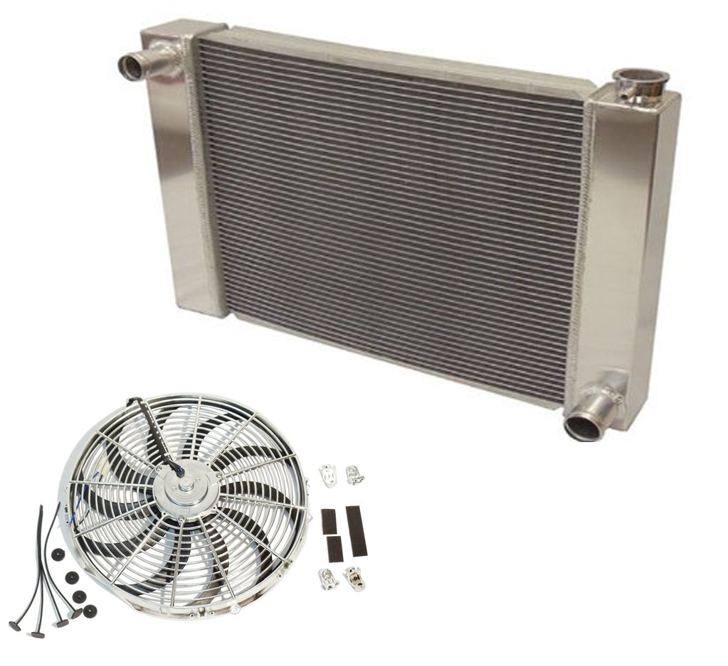Fabricated Aluminum Radiator 30 x 19 x3 Overall for SBC BBC Chevy GM /& Electric Curved S Blade 16 Chrome Radiator Cooling Fan