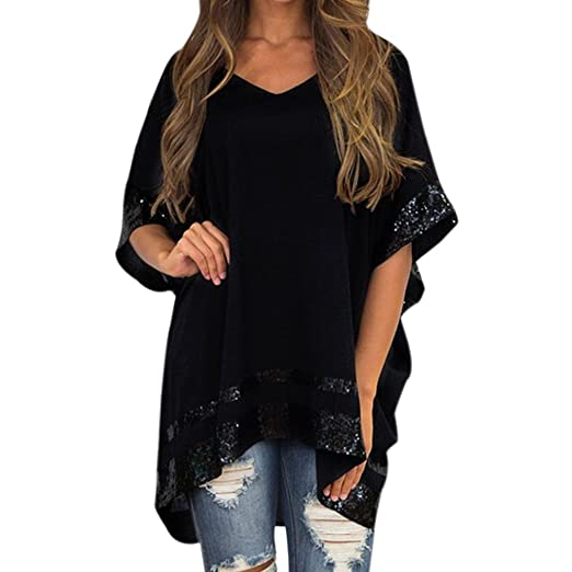 7674ae2657c0da Wintialy Women Plus Size Sequined Decorated V-Neck Half Sleeve Sparkly  Capelet Blouse Black
