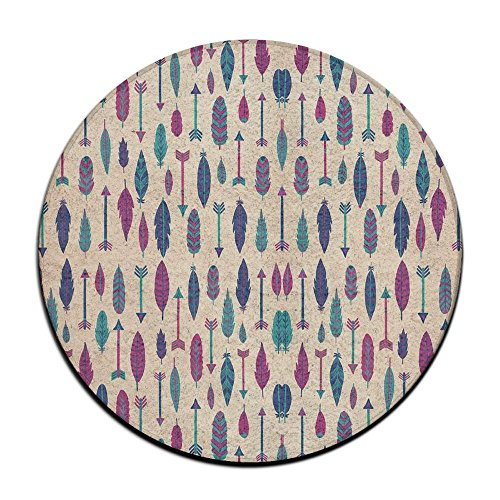Waterproof Feather Arrow Round Splash Splat Mat For Under High Chair Floor Protector Cover 23.6