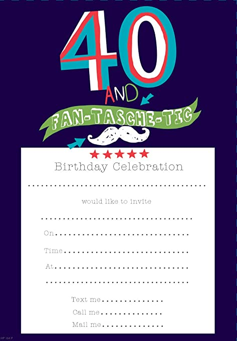 Pack Of 20 40th Birthday Party Invitation Sheets Envelopes 40th