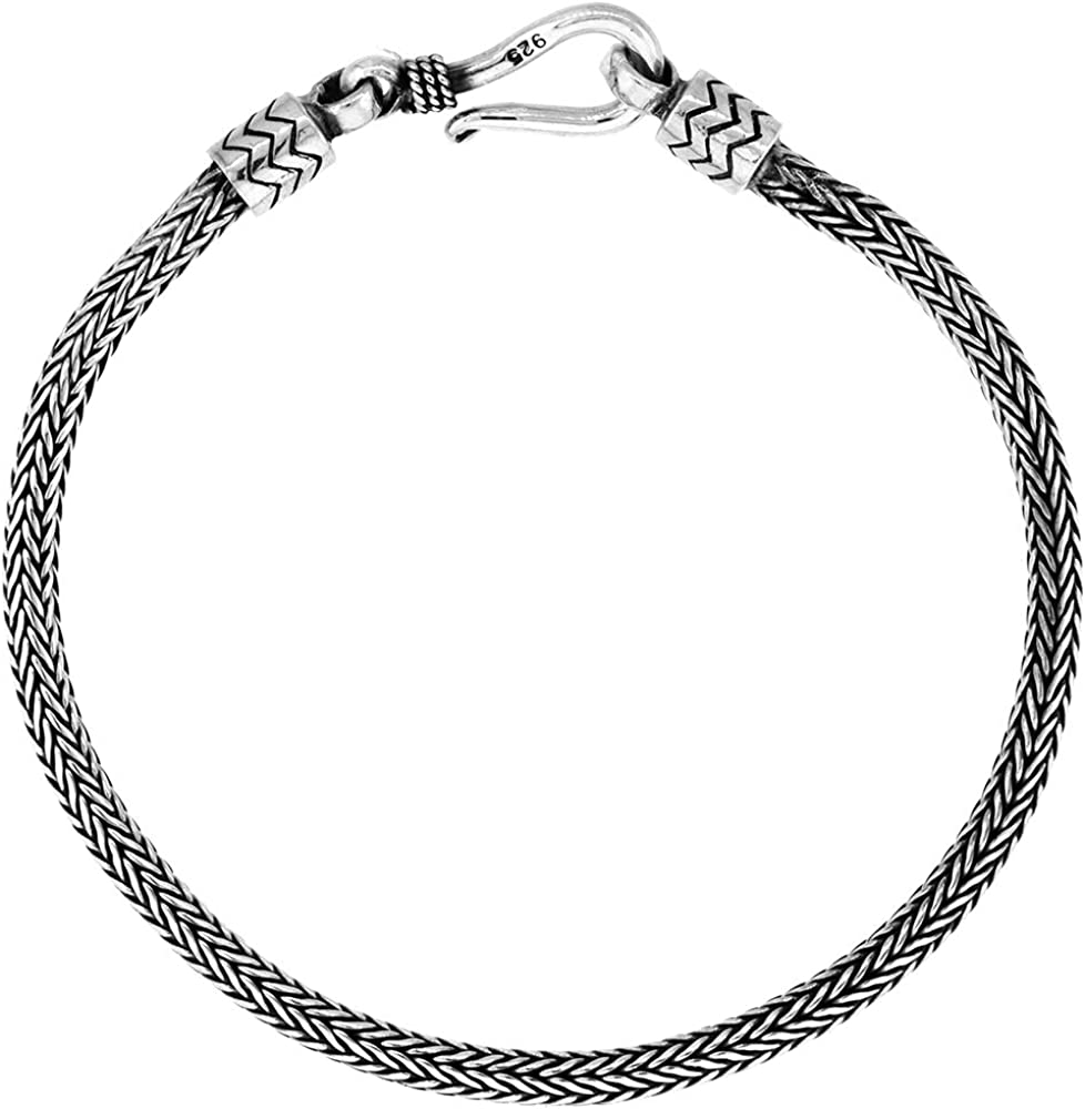 3mm Bali M-Link Italian Rope Chain Necklace Oxidized .925 Italy Sterling Silver