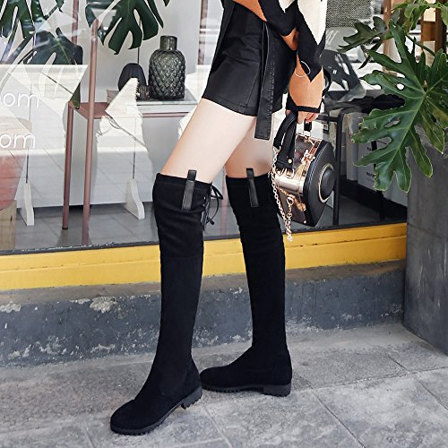 GEERBU Boots Women Knee High Overknee Boots Black/Longsleeve Boots/Suede Long Boots/Leather Boots Flat Overknee Boots Black/Longsleeve Boots/Suede Long Boots/Leather Boots Black-1 JJV2LDGgk