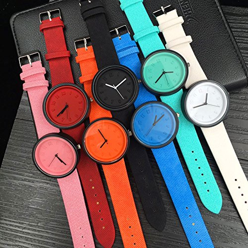 Charberry Unisex Simple Number Watches Quartz Canvas Belt Wrist Watch Red by Charberry (Image #3)