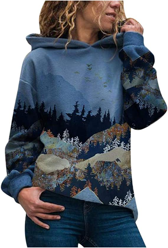 Yinella Women Cute Dinosaur Pullover Hoodies Casual Pocket Long Sleeve Hooded Sweatshirts Jumper Tops Sweaters