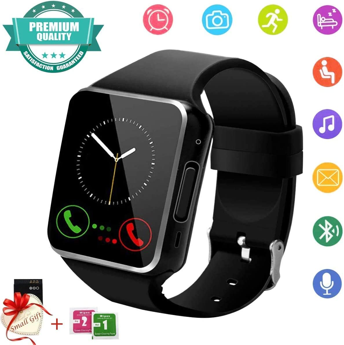 Smart Watch,Smart Watch for Android Phones, Smart Watches with Camera Bluetooth Watch Phone with SIM Card Slot Watch Cell Phone Smartwatch for Android Samsung Huawei Phone iOS XS X8 10 11 Men Women