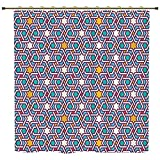 iPrint Shower Curtain,Arabian,Geometric Lines and Stars Based on Traditional Oriental Eastern Artistic World Decorative,Multicolor,Polyester Shower Curtains Bathroom Decor Sets with Hooks