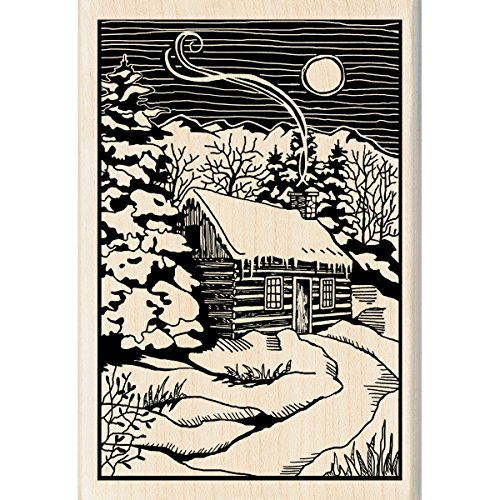 Inkadinkado Christmas Mounted Rubber Stamp, 2.75 by 4-Inch, Winter Evening Woodcut