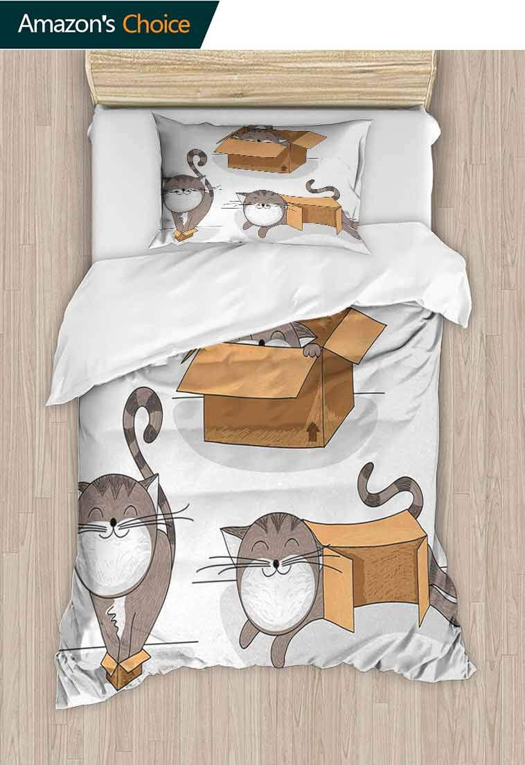 Cat Printed Quilt Cover and Pillowcase Set, Cartoon Cat Trying Fit Different Sized Cardboard Boxes Domestic Companion, Cool 3D Outer Space Bedding Digital Print - 2 Piece, 47 W x 59 L Inches