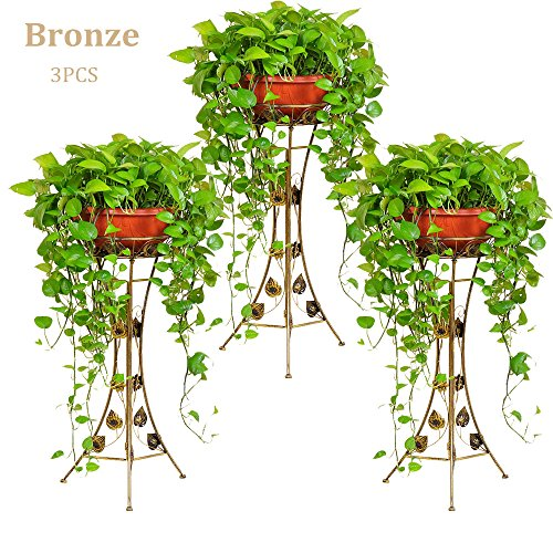 Cheap  UNHO 3PCS Classic Plant Stand Decorative Metal Garden Patio Standing Plant Flower..