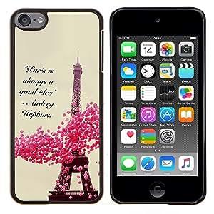 Eason Shop / Premium SLIM PC / Aliminium Casa Carcasa Funda Case Bandera Cover - París Corazones primavera floral torre Eifel - For Apple iPod Touch 6 6th Touch6