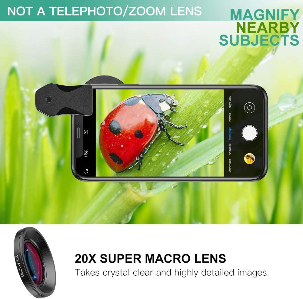 LED Light 2 in 1 Wide Angle and Macro Lens with Quick-Release Lanyard Travel Case Compatible with iPhone//Samsung//Google Pixel SEEKONE Phone Camera Lens Kit