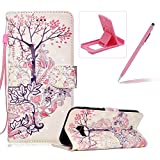 Rope Leather Case for Samsung Galaxy Xcover 4 G390F,Stand Wallet Flip Case for Samsung Galaxy Xcover 4 G390F,Herzzer Bookstyle Stylish 3D Rabbits Tree Pattern Magnetic PU Leather with Soft Silicone Inner Back Case for Samsung Galaxy Xcover 4 G390F