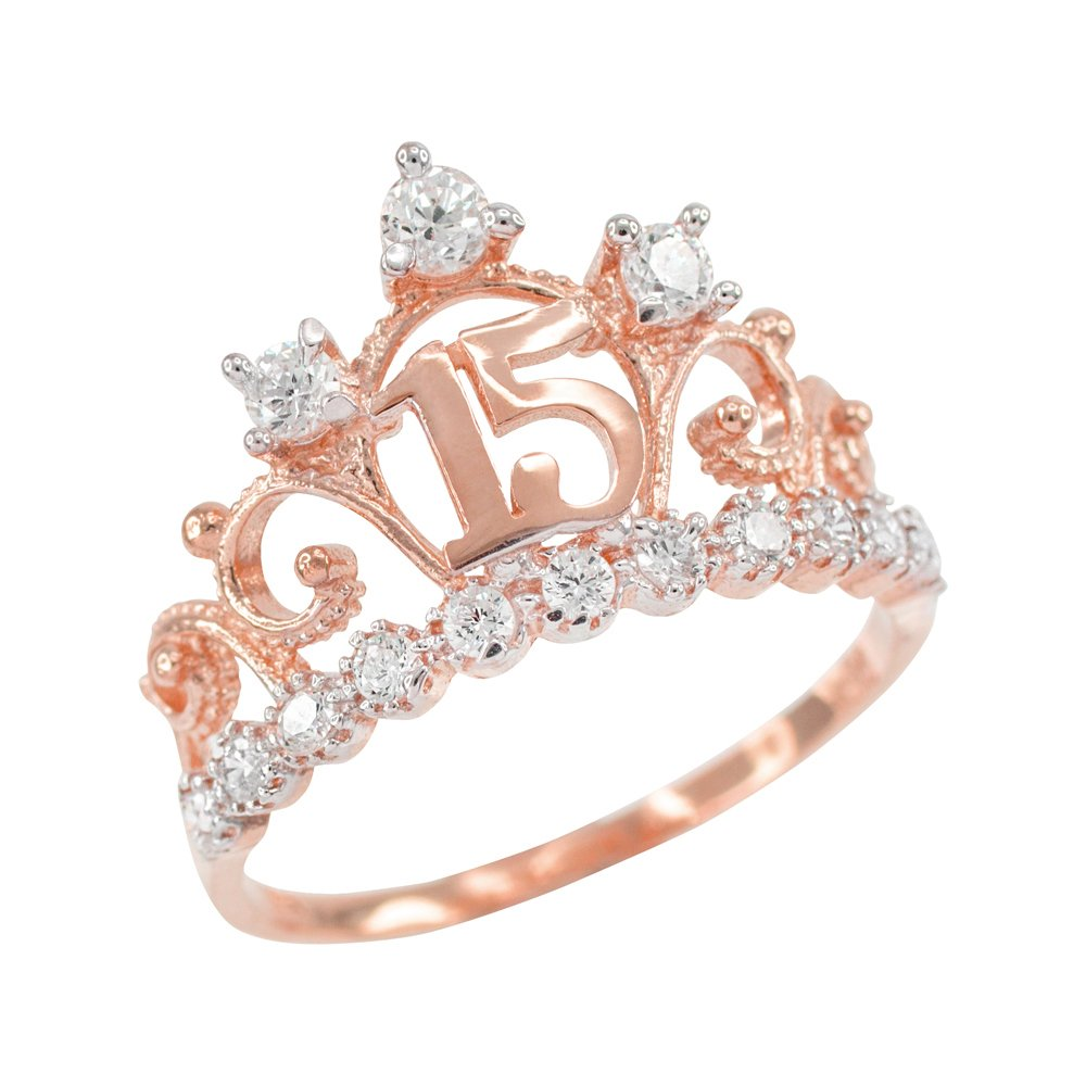 14k Rose Gold CZ-Studded Crown Sweet 15 Anos Quinceanera Ring, Size 4.5