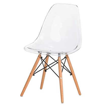 Eames Eiffel DSW Style Side Dining Chair   Clear