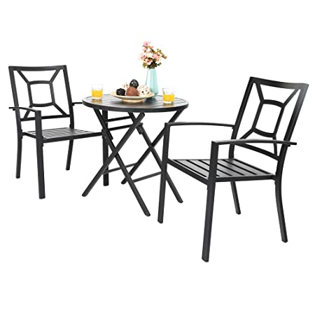 PHI VILLA Metal Patio Dining Chairs and Dia.28.1 Folding Round Table Furniture Set – Table with Aluminum Table Top