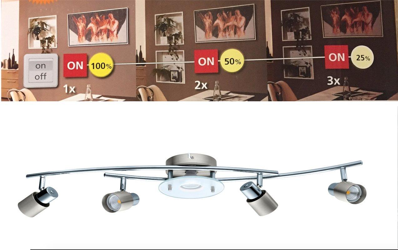 Lampe Deckenleuchte 3-Step Dimming Dimmbar Gu10 LED Lang Eglo 75364 Nickel Lampe