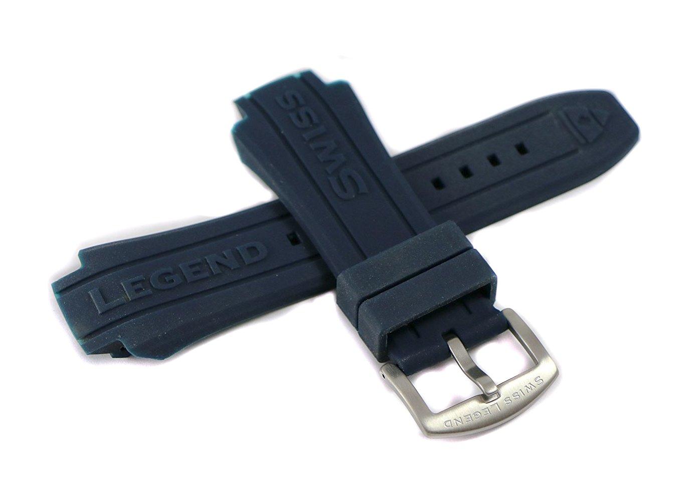 Swiss Legend 19MM Dark Navy Silicone Rubber Watch Strap & Silver Stainless Buckle fits 53mm Neptune Watch