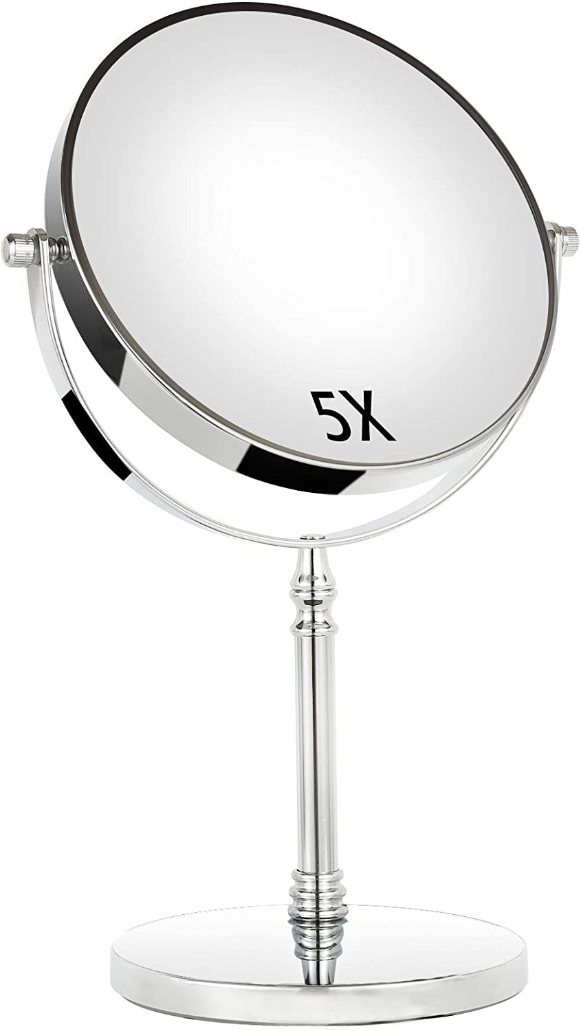 TAOKEY 8-Inch Large Makeup Mirror,Vanity Mirror 8-Inch Two-Sided with 1x/5x Magnification, 360 Swivel Cosmetic Mirror,Anti Skid Base.