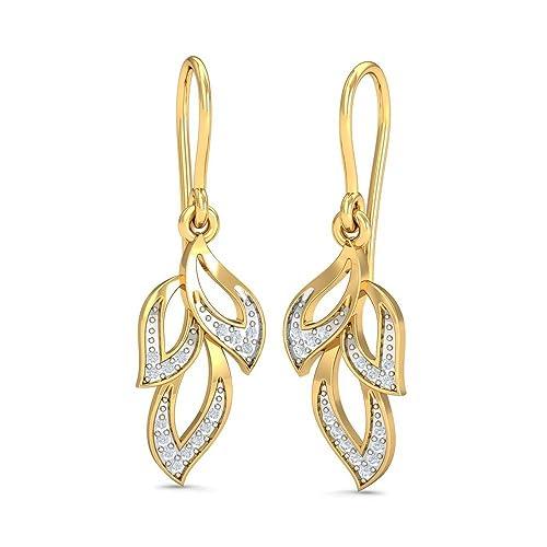 KuberBox Yellow Gold and Diamond Drop Earrings for Women Earrings