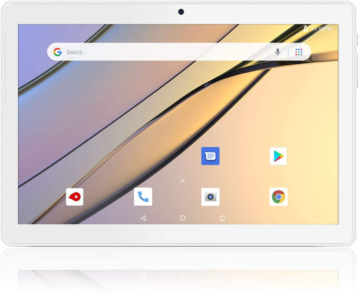 Android Tablet 10 Inch, 5G WiFi Tablet, 16 GB Storage, GMS Certified, Android 8.1 Go, Dual Camera, Bluetooth, GPS, OTG - Silver