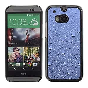 Paccase / SLIM PC / Aliminium Casa Carcasa Funda Case Cover para - Water Droplets Blue Wall Pattern Nature - HTC One M8