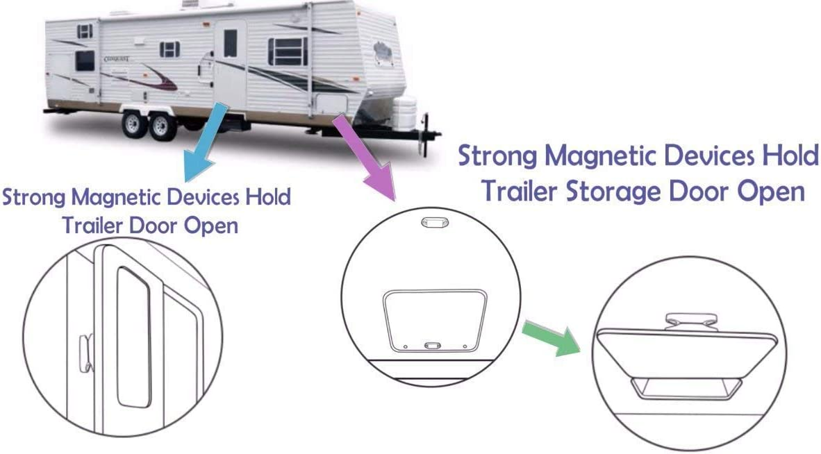 CalPalmy Magnetic Baggage Door Catch and Holder Kit Motor Home and Boat Hatches Camper Travel Trailer White Door Latch with Super Strong Magnets for RV 4-Pack Plastic Spring Clip Replacements