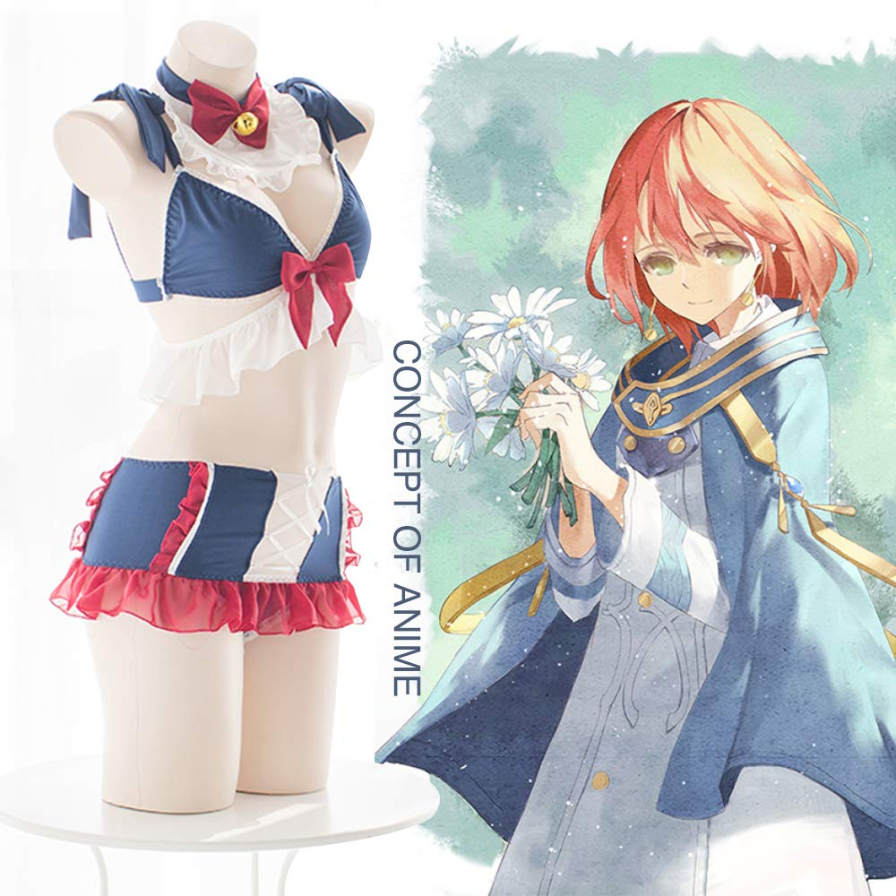 2b6b7b9ac Amazon.com: YOMORIO Cute Cat Cosplay Costume Sexy Bunny Outfit Japanese  Anime Maid Lingerie Bra and Panty Set Blue: Clothing