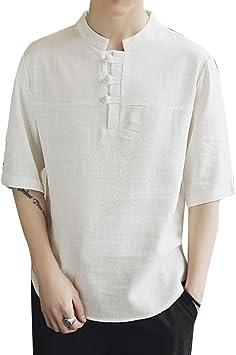 Camisas De Lino Basicas Hombre 1/2 Manga Chino Casual Camiseta ...