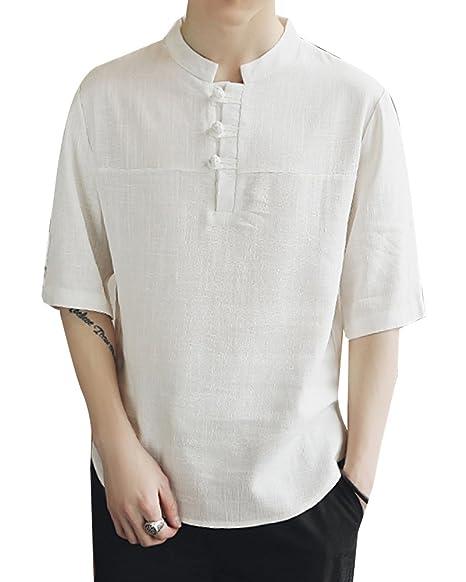 Camisas De Lino Basicas Hombre 1/2 Manga Chino Casual Camiseta Tops Shirts Blanco 5XL