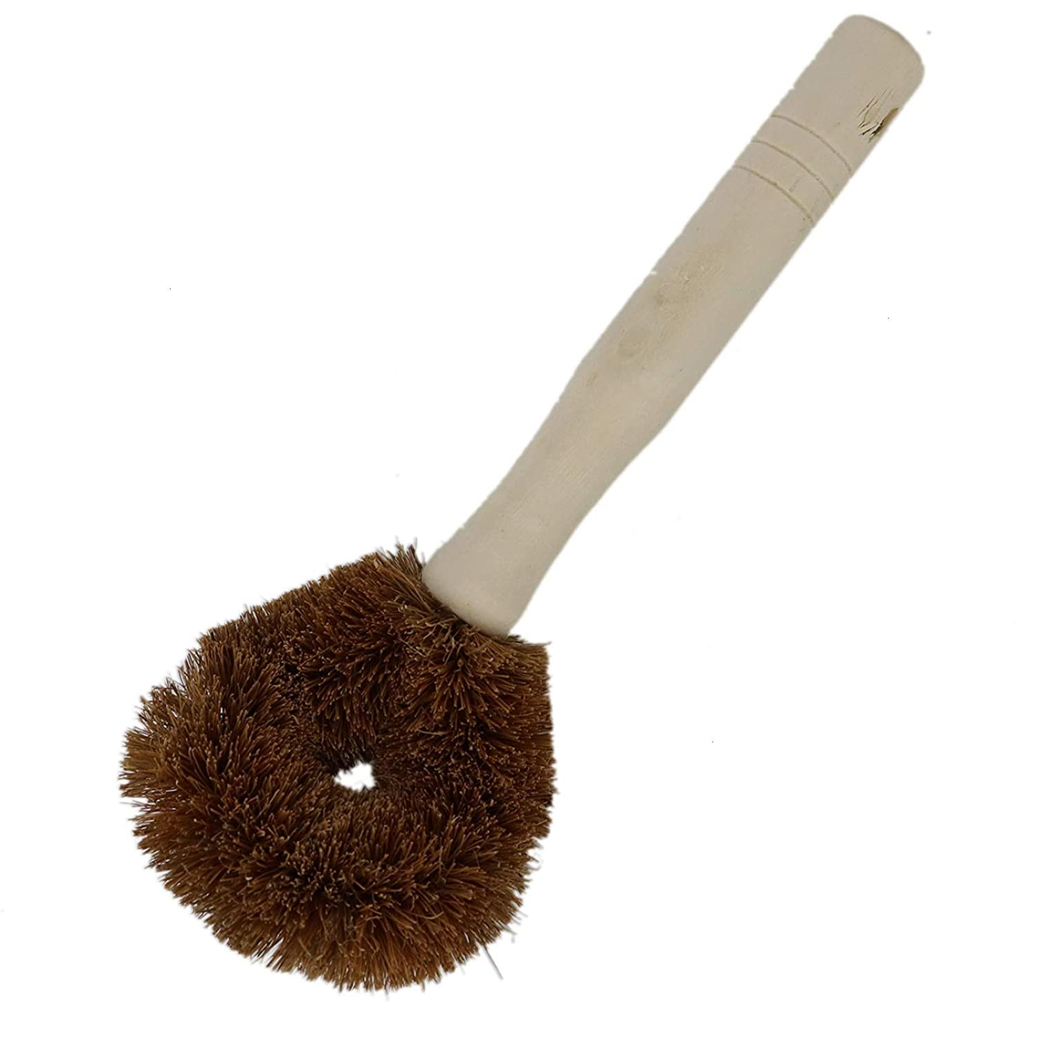 AQUEENLY Kitchen Brush Coconut Fiber Brush with a Long Log Handle for Pan,Dishes Brown) Pot
