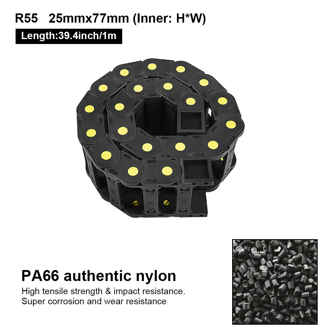 Inner H x Inner W LMioEtool R55 25mm x 38mm with End Connectors Non-openable Enclosed Type Black Plastic Yellow Dot Cable Wire Carrier Drag Chain 1M Length for CNC