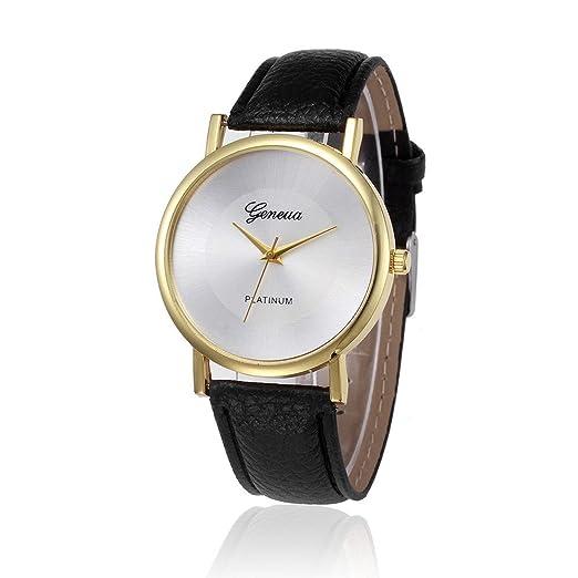 Kinlene mujer relojes barados diseño retro aleación banda de cuero analogico reloj de pulsera de cuarzo