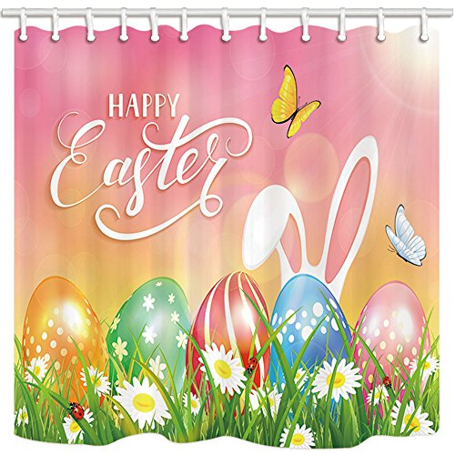 NYMB Happy Easter Shower Curtains for Bathroom, Colorful Eggs in Grass and Flowers with Butterflies Flying, Polyester Fabric Waterproof Bath Curtain, Shower Curtain Hooks Included, 69X70in