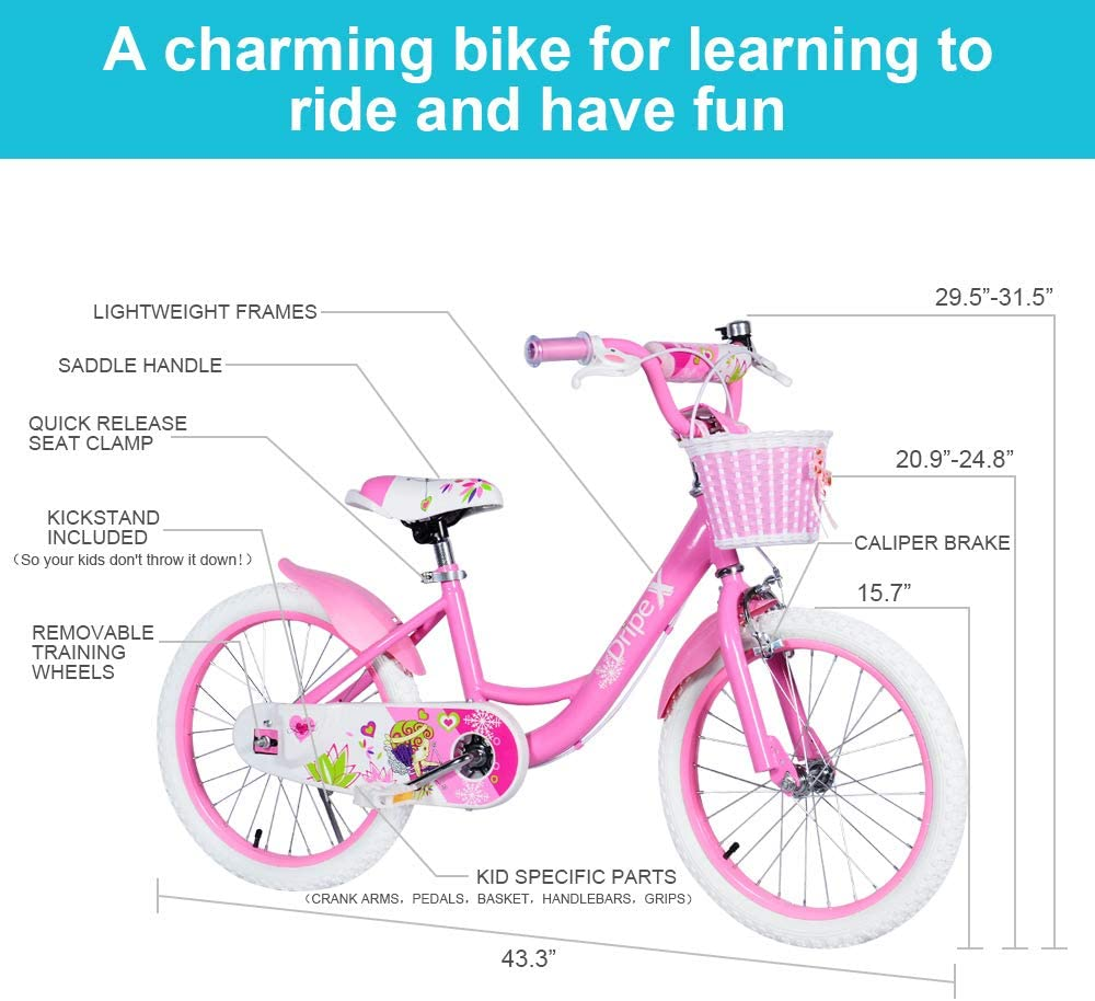 Dripex - Bicicleta Infantil con Ruedas de Entrenamiento para 12 Bicicletas de 14 a 16 y 18 Pulgadas, Soporte para Bicicleta de 16 a 18 Pulgadas, Color Rosa: Amazon.es: Deportes y aire libre
