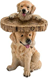 Plow & Hearth Two Playful Golden Retriever Puppies Resin Birdbath Hand-Painted All-Weather Wood-Look Resin Landscape and Garden Accent, 13¼