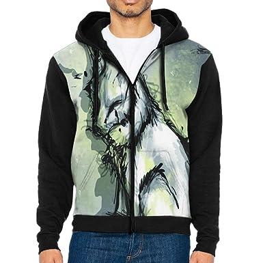 Hand-Drawn Style Lonely Fox Hoodies For Men Sweater Hooded Sweatshirt Zip  Fleece