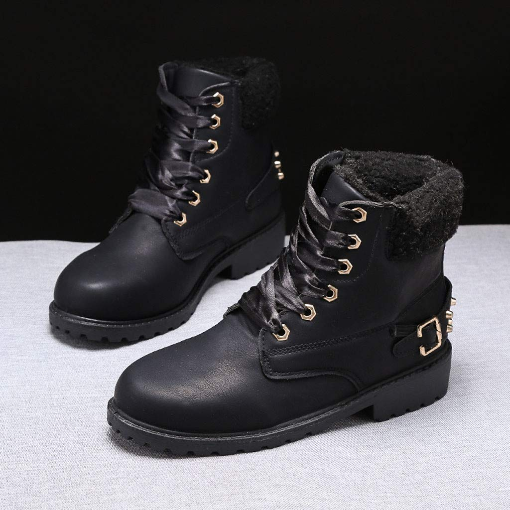 Boots for Womens,Ladies Solid Lace Up Boots Casual Ankle Boots Round Toe Shoes Winter Snow Booties Platform