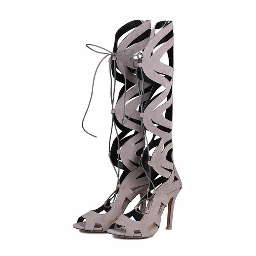 Lace Up zapatos de tacones altos cordones de gamuza mate botas zapatos Tamaño del canister RFF-Women' s Shoes
