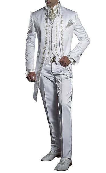Suit Me Retro de los Hombres de Largo 3 Piezas de Traje Stand-Up Collar  Bordado Traje de Smoking Chaqueta Chalecos Blanco 5XL  Amazon.es  Ropa y  accesorios 6a3af73ffbb