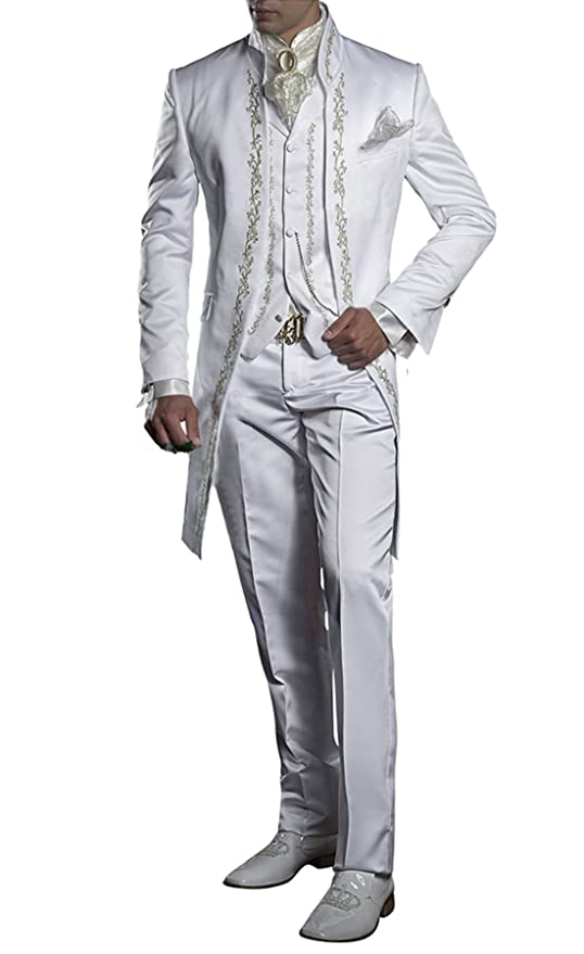 Suit Me Retro de los Hombres de Largo 3 Piezas de Traje Stand-Up Collar  Bordado Traje de Smoking Chaqueta Chalecos Blanco 5XL  Amazon.es  Ropa y  accesorios 7c705cabbdb4