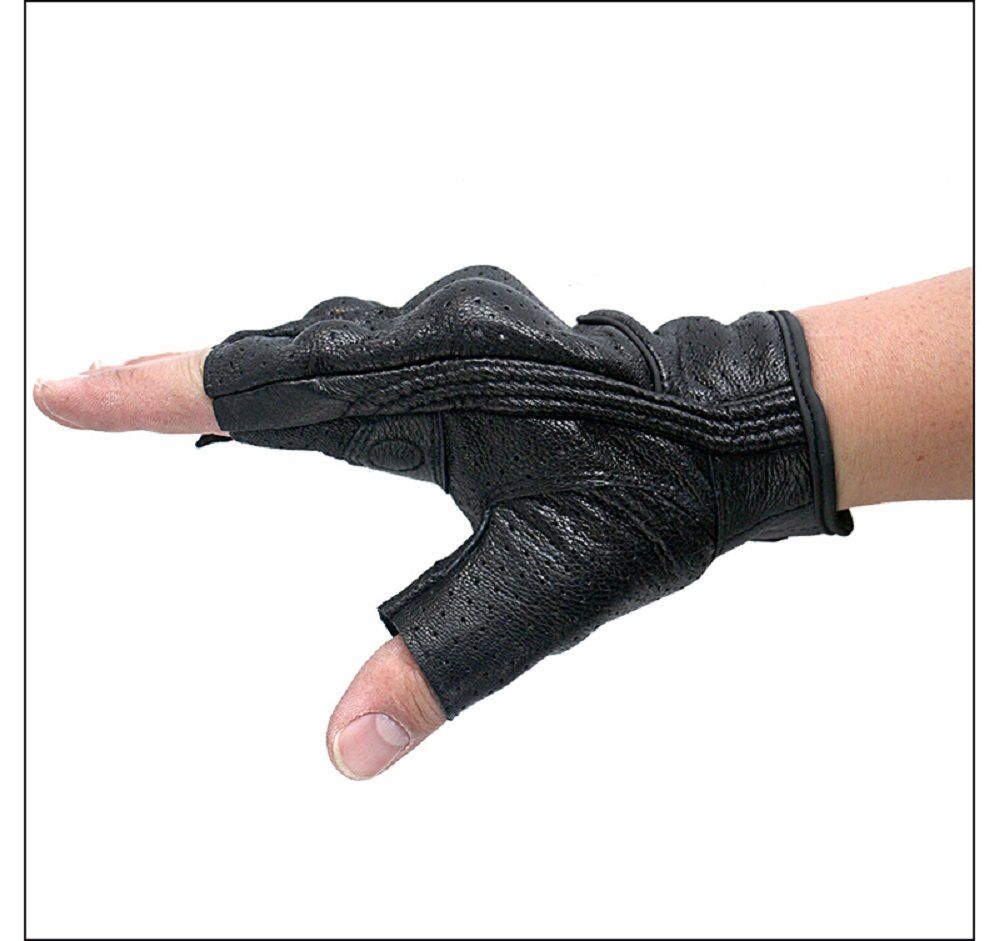 G11-Black,S Superbike Half Finger//Fingerless Motorcycle Gloves Armored Genuine Goatskin Leather with Perforated Hole for Men