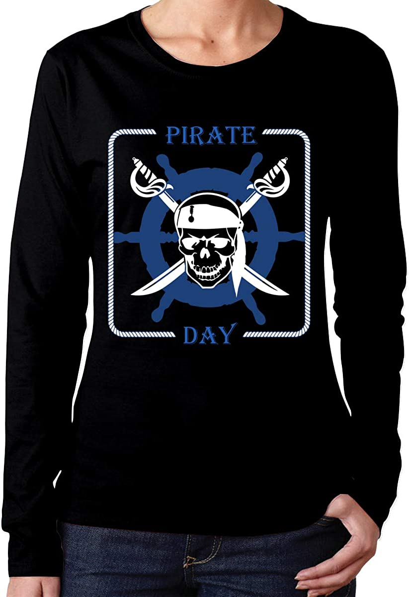 MiiyarHome Womens Long Sleeve T-Shirts International Pirate Day Tee Teen Girls Printed Long Sleeves Black