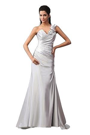 Vestido de novia un hombro elegante (blanco)