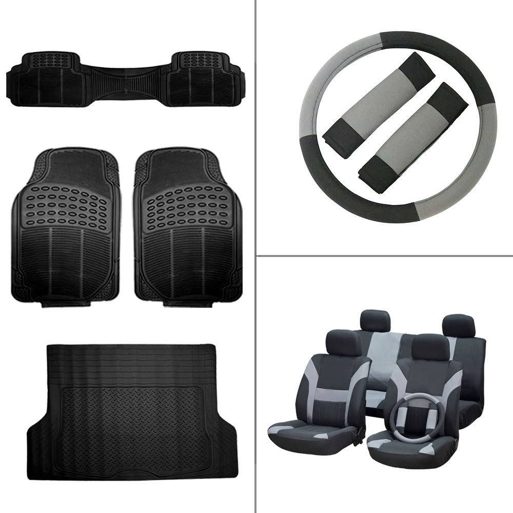 Scitoo 15-PCS Car Floor Mats W/Trunk Liner Black/Gray Car Seat Cover W/Belt Pads/Steering Wheel Cover for Heavy Duty Vans Trucks