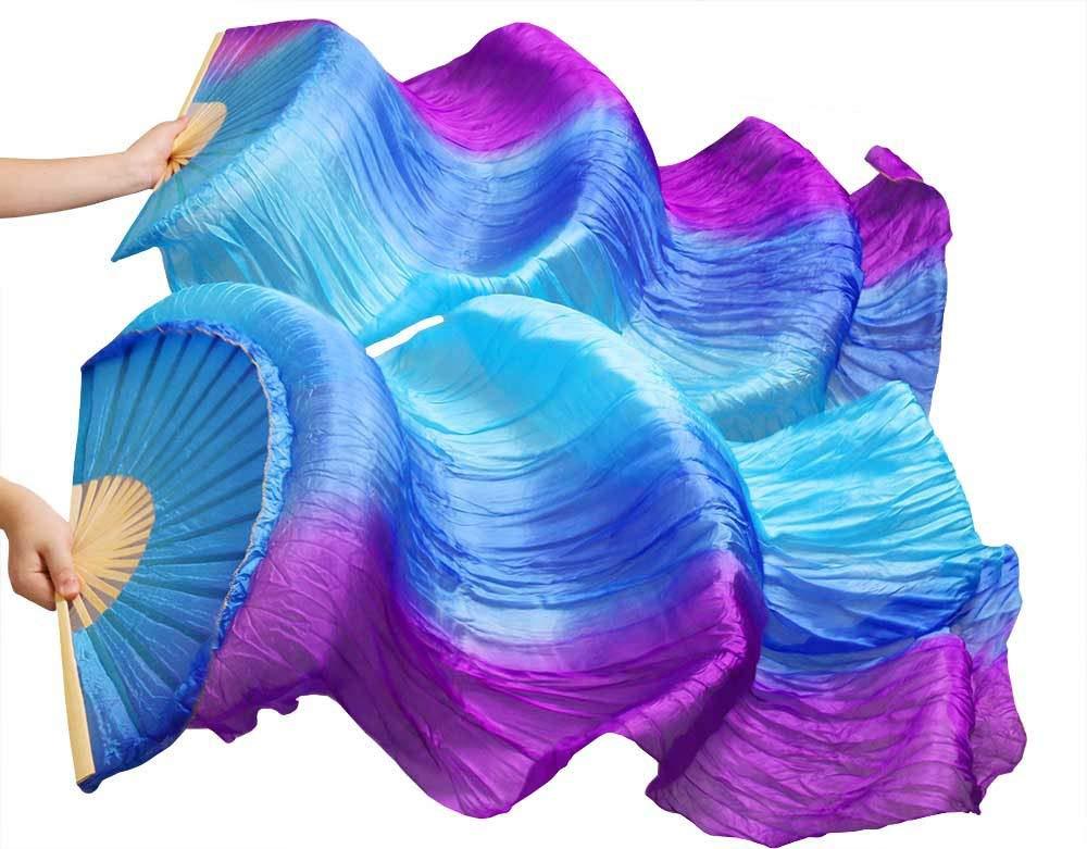 Nimiman Women Belly Dance Fan Veils Vertical Gradient Color Turquoise Blue Purple