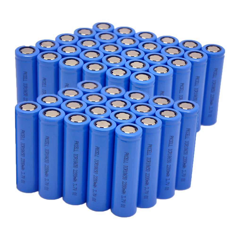 PKCELL ICR18650 3.7V 2200mAH Li-ion Rechargeable Batteries Flat Head (50Pcs)