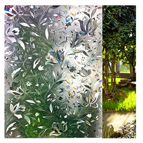 LEMON CLOUD 3D No Glue Static Decorative Privacy Window Films for Glass 23.6in. by 78.7in by LEMON CLOUD