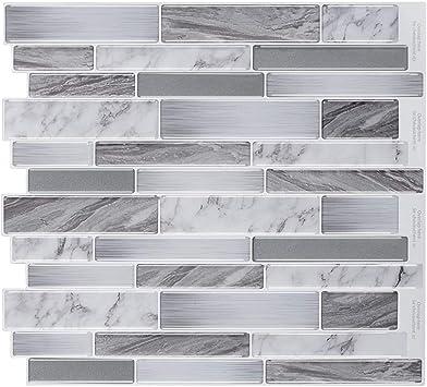 Peel and Stick Tile 5 Sheets Stick on Tiles for Kitchen Backsplash Adhesive Wall Tiles 11.25x10