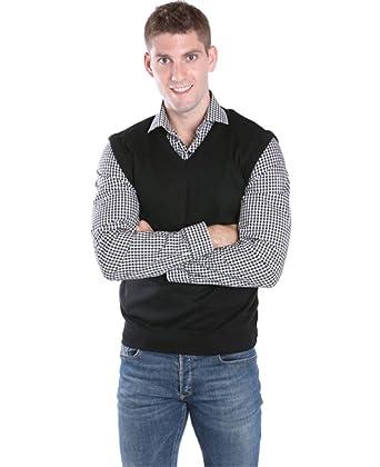Men's V-Neck Sweater Vest - Black, 5X-Large at Amazon Men's ...